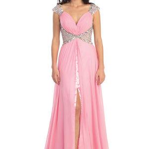 Leg Slit V-Neckline Sleeveless Long Dress GL1130